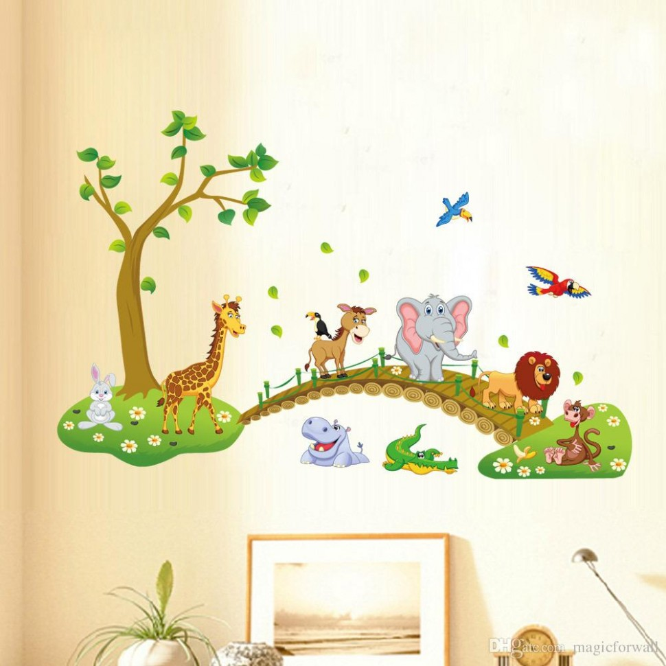Kids Room Nursery Wall Decor Decal Sticker Cute Big Jungle Animals Bridge  Wall Sticker Baby Room Wallpaper Decal Posters Wall Decals For The Home  Wall  - Baby Room Wall Decor