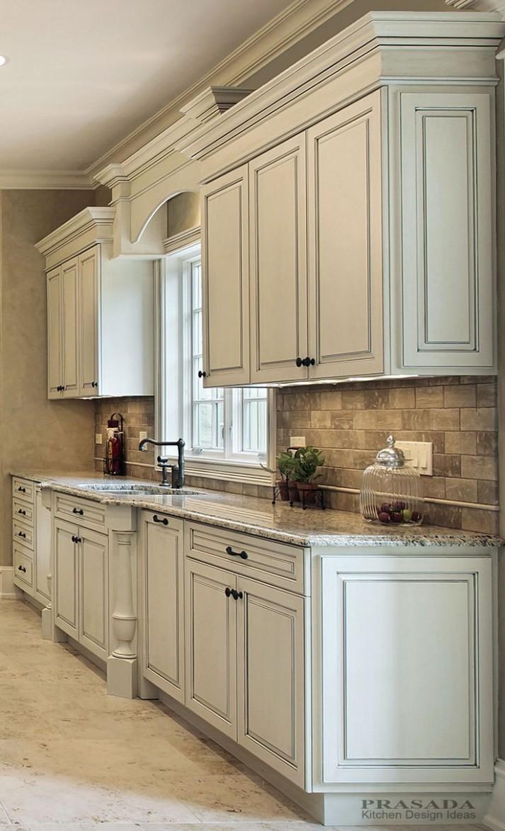 Kitchen Design Ideas  PRASADA Kitchens and Fine Cabinetry  - Antique White Kitchen Cabinets With Granite Countertops