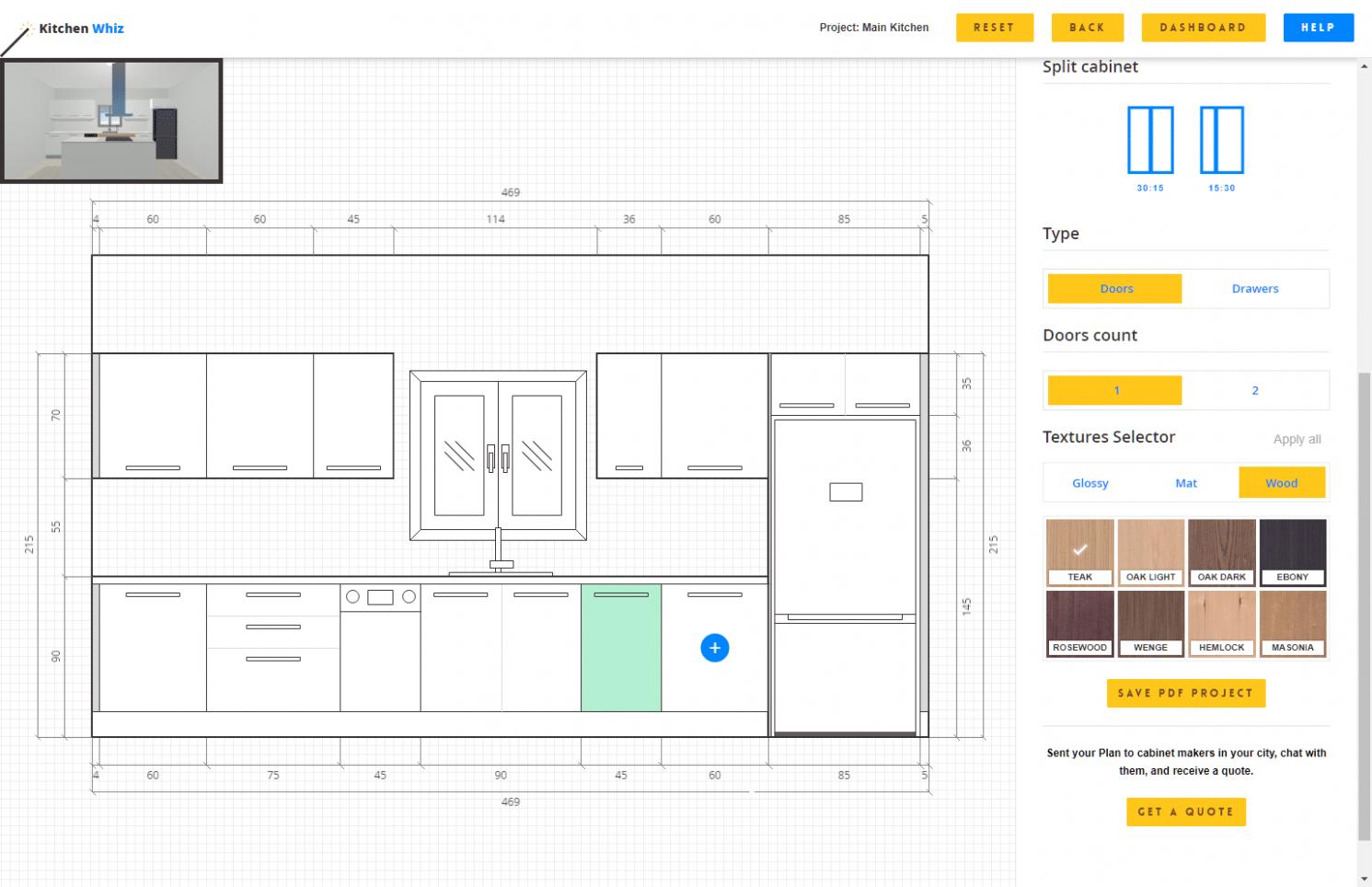 Kitchen Planner Online - FREE designs in minutes, no download, in 10D - Kitchen Cabinets Layout Design Tool