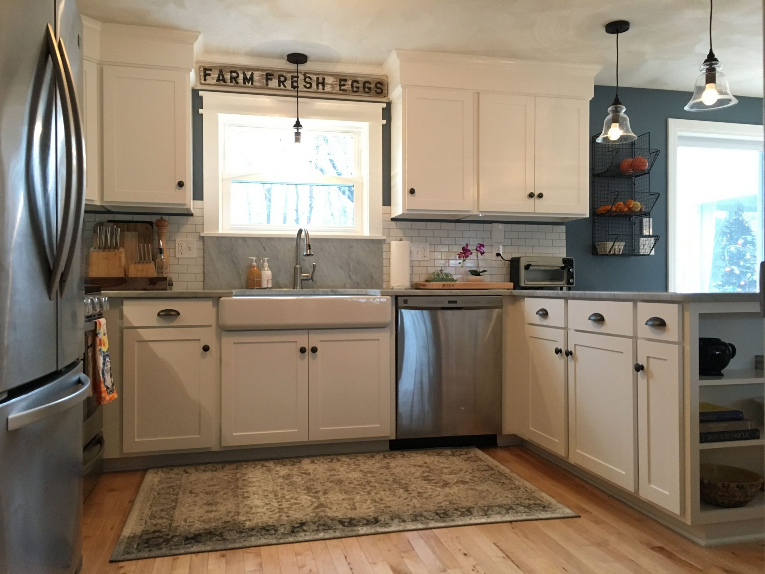 Kitchen remodel-adirondack blue Behr wall color, simply white  - Adirondack Kitchen Cabinets