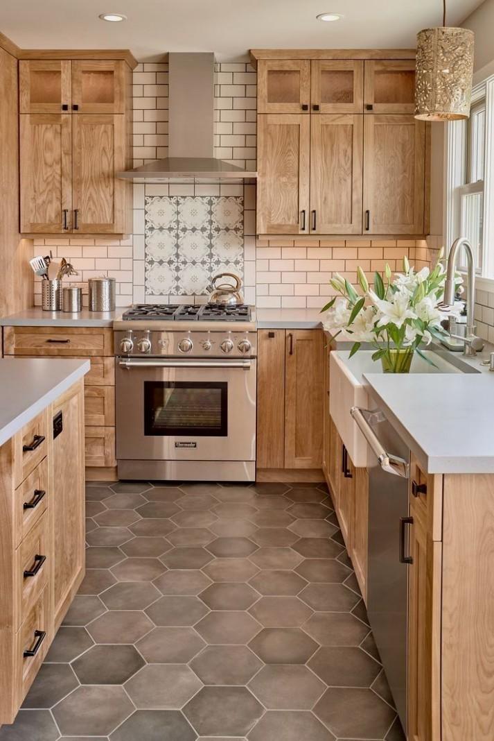 kitchencabinetsdiy #woodcabinetkitchen  Farmhouse kitchen design  - Kitchen Backsplash With Light Wood Cabinets