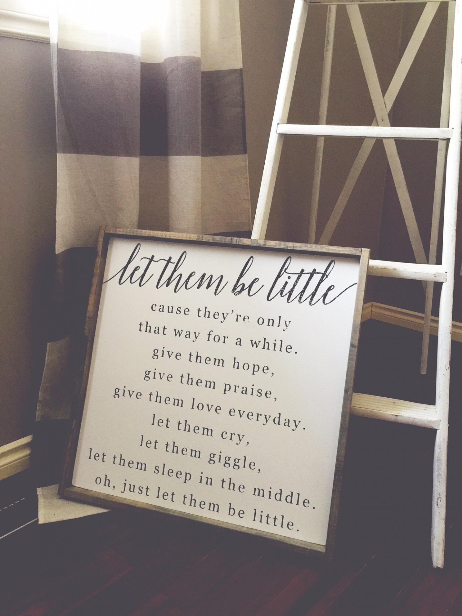 Let Them Be Little  Modern Style Wood Sign - Baby Room Signs