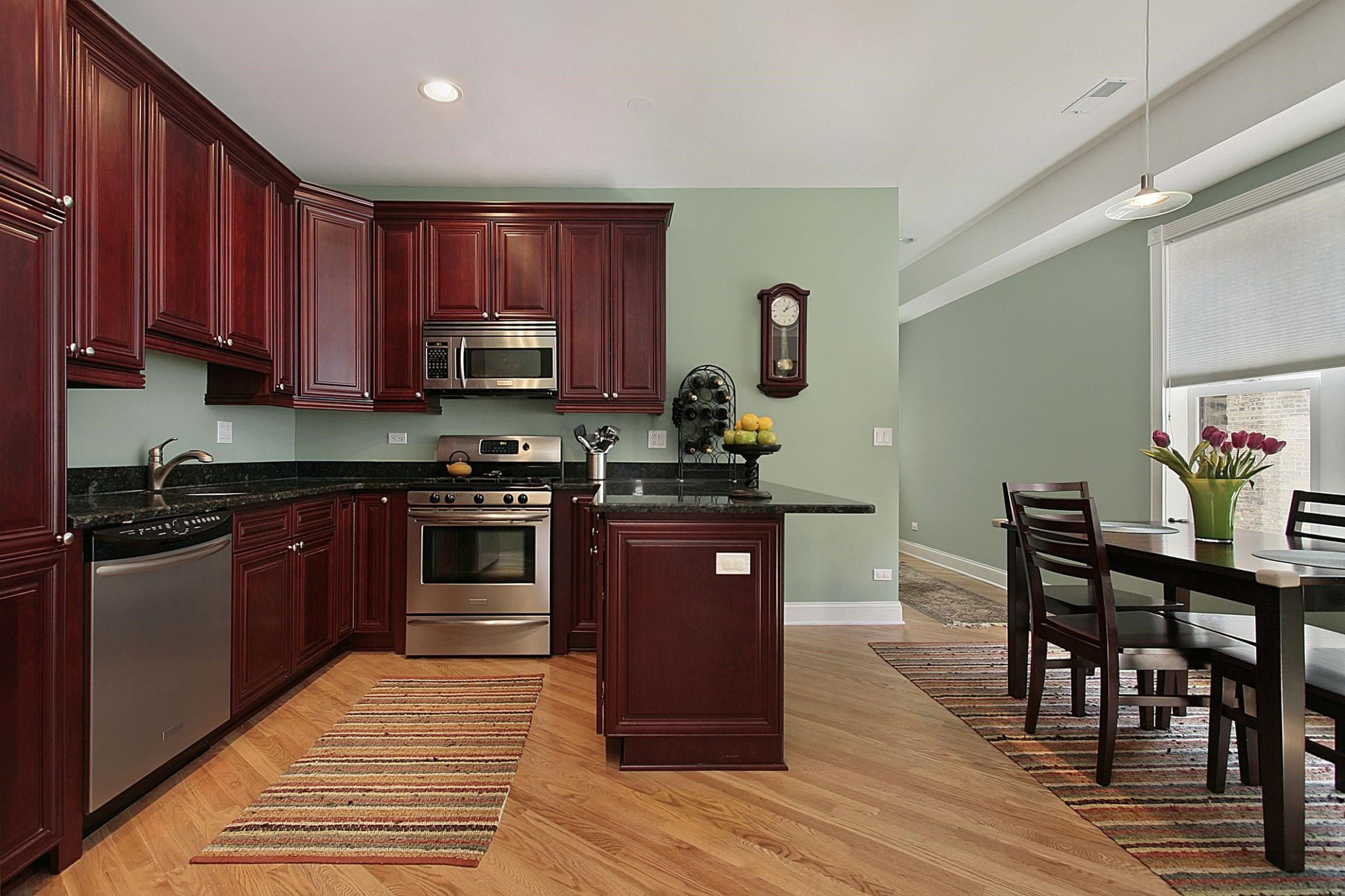 Light Sage Green Paint Colors In Kitchen With Dark Mahogany  - Kitchen Wall Paint Colors With Cherry Cabinets