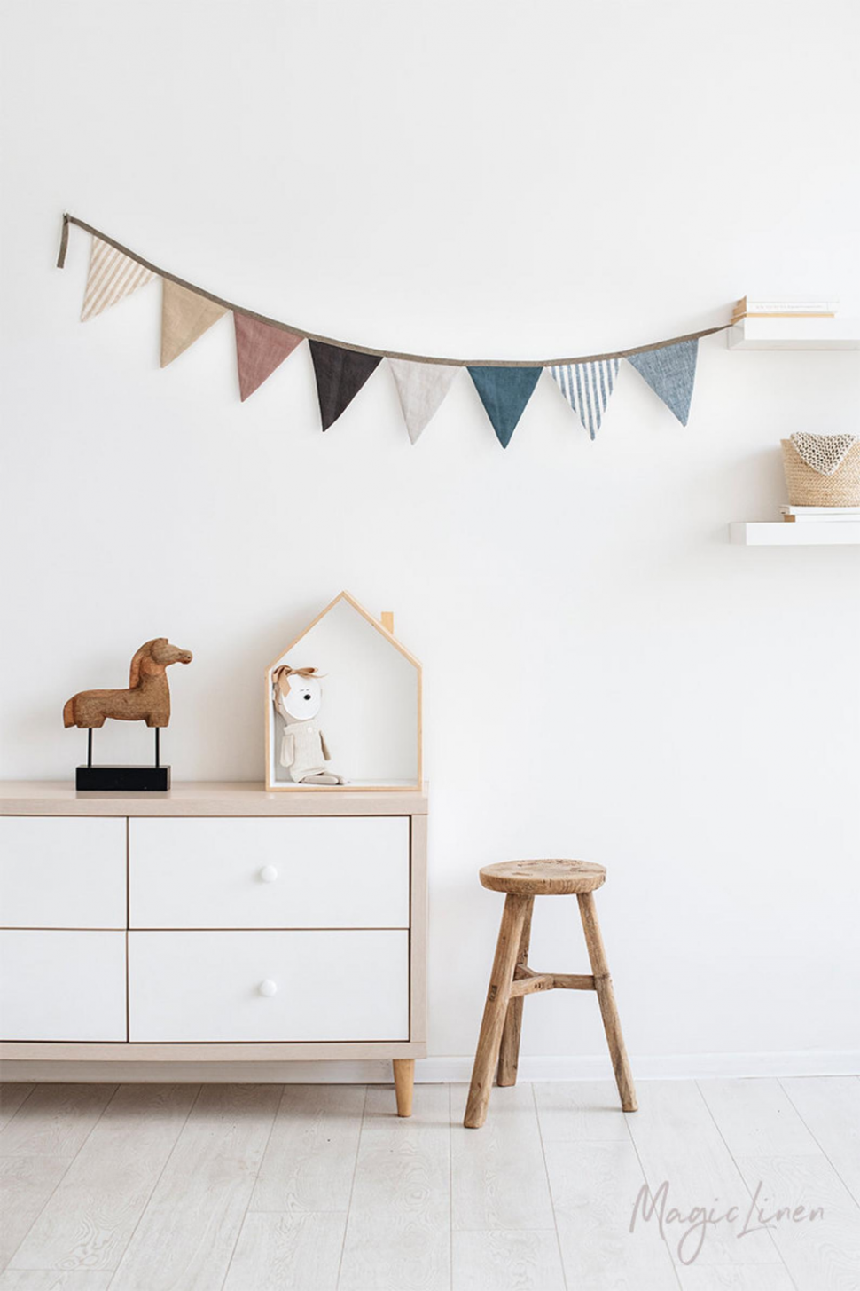 Linen bunting. Nursery wall hanging