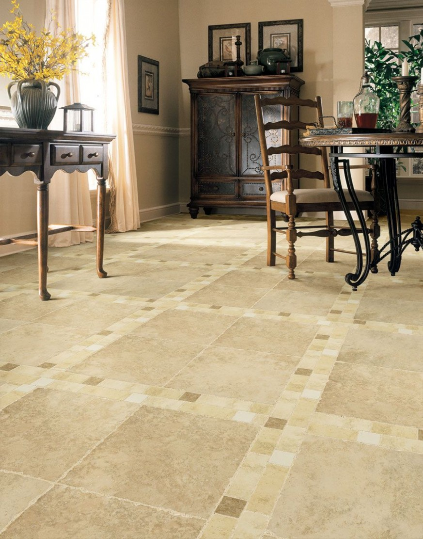 living room floor tile design ideas  Dining Room With Classic  - Dining Room Tile Ideas