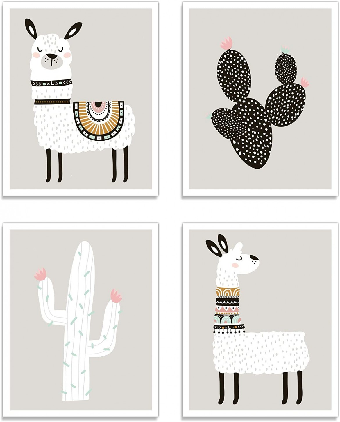 "Llama Wall Decor Art Posters - Set of 10 (10"" x 100"") Professional Grade  Prints (Llama & Cactus) for Baby Room, Boy/Girl Room, Kids, Nursery Room  Decor,  - Baby Room Posters"