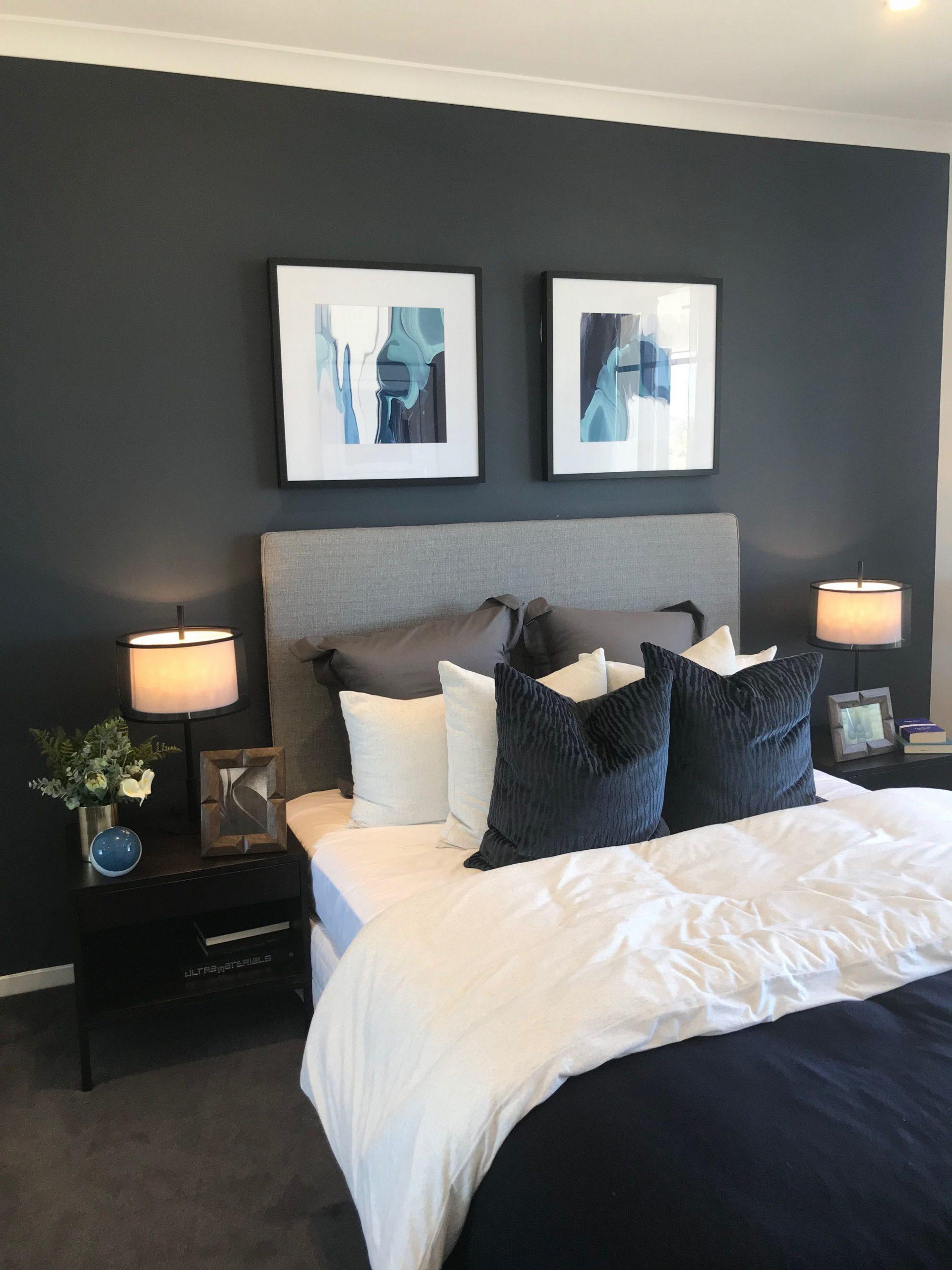 Love all of the colors: dark blue, gray, white  Gray master  - Bedroom Ideas Dark Grey