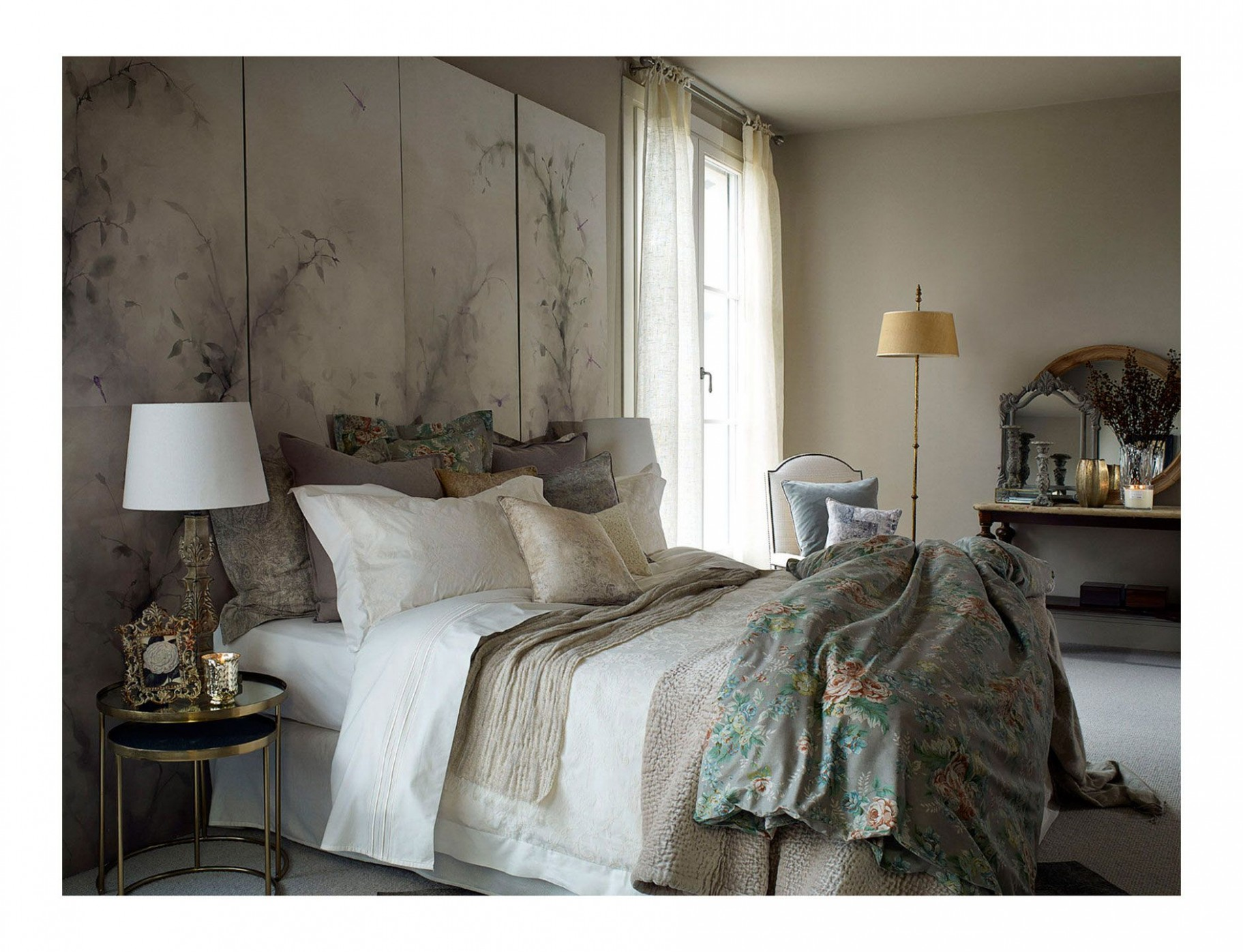 "Love the idea of painted wood or art as a ""headboard"" behind bed  - Zara Bedroom Ideas"