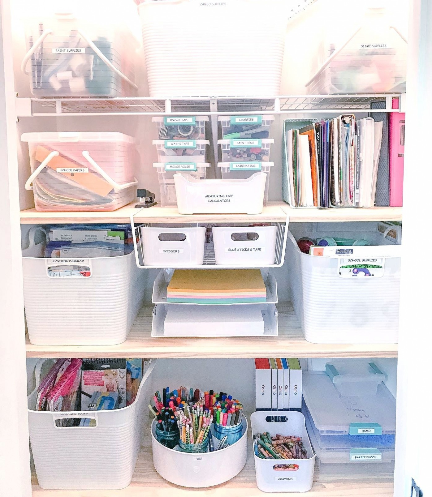 Love ❤️ this office supplies storage look from  - Home Office Organization Ideas On A Budget