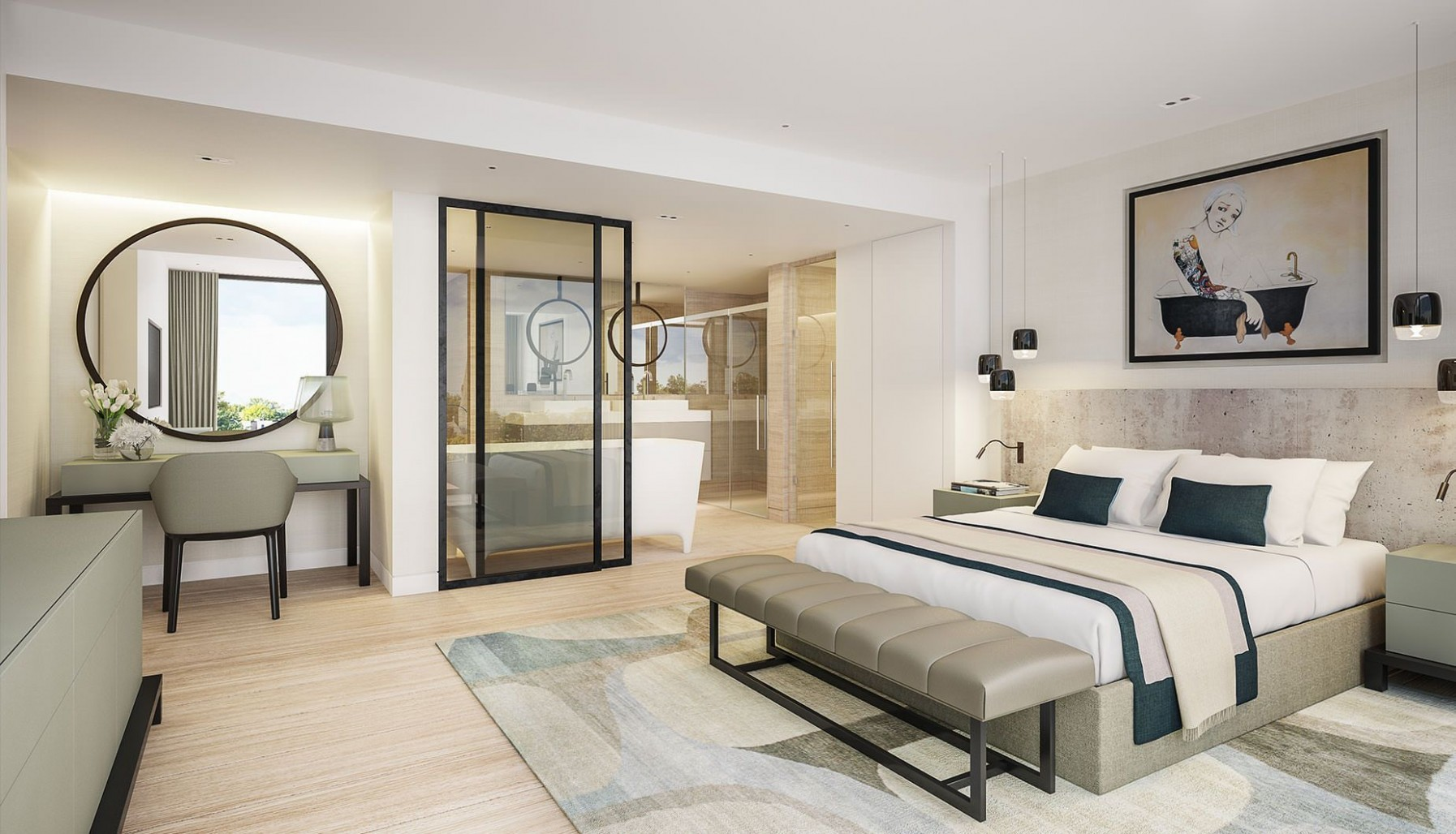 Luxury contemporary master bedroom suite with open plan ensuite  - Bedroom Ideas Ensuite
