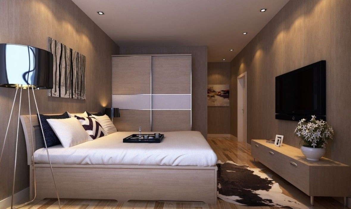 Master bedroom interior design with TV wall and wardrobe  Master  - Bedroom Ideas With Tv