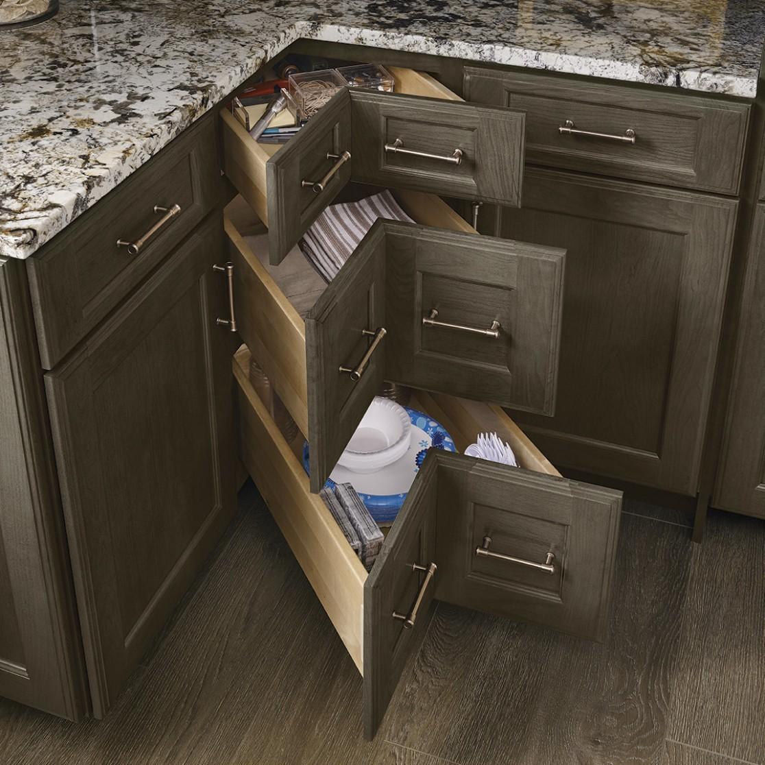 Merillat Masterpiece® Base Cabinet Corner Solution Drawers - 24 Inch Corner Kitchen Base Cabinet