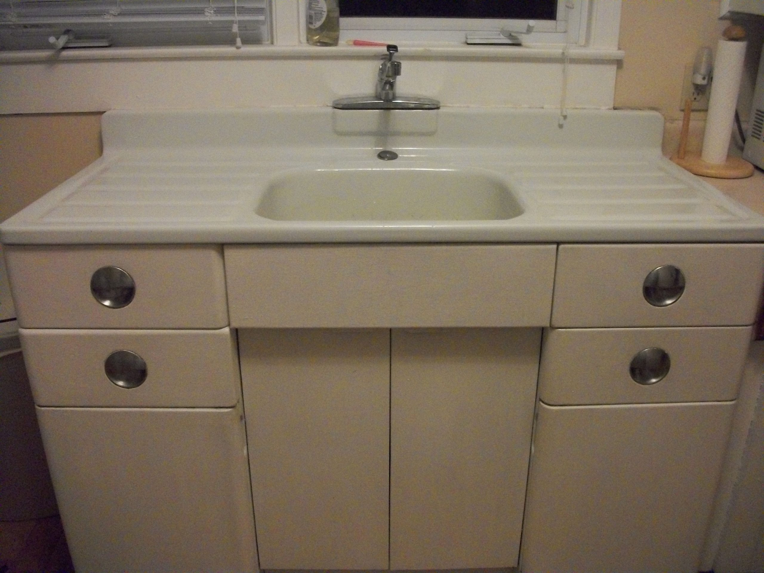 Metal Kitchen Cabinet and Porcelain Sink For Sale  Antiques