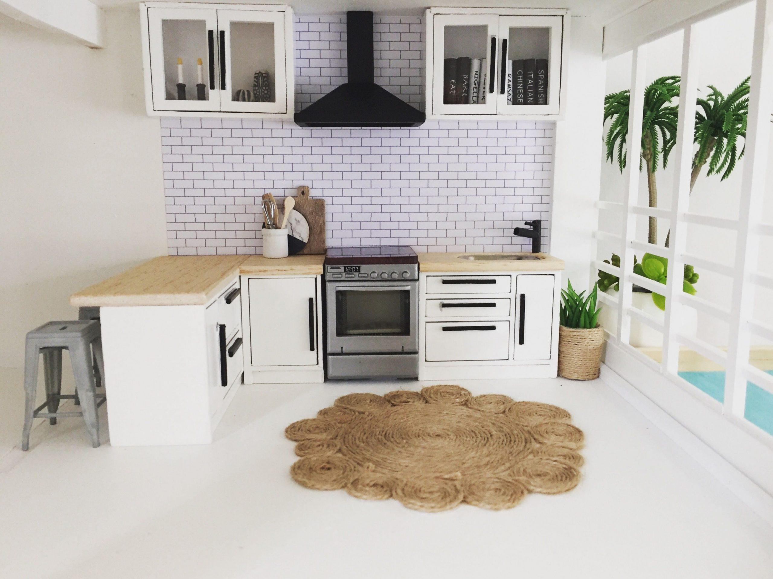 Miniature dollhouse kitchen 9:92 scale, modern dollhouse ideas  - Dollhouse Kitchen Cabinet Kit