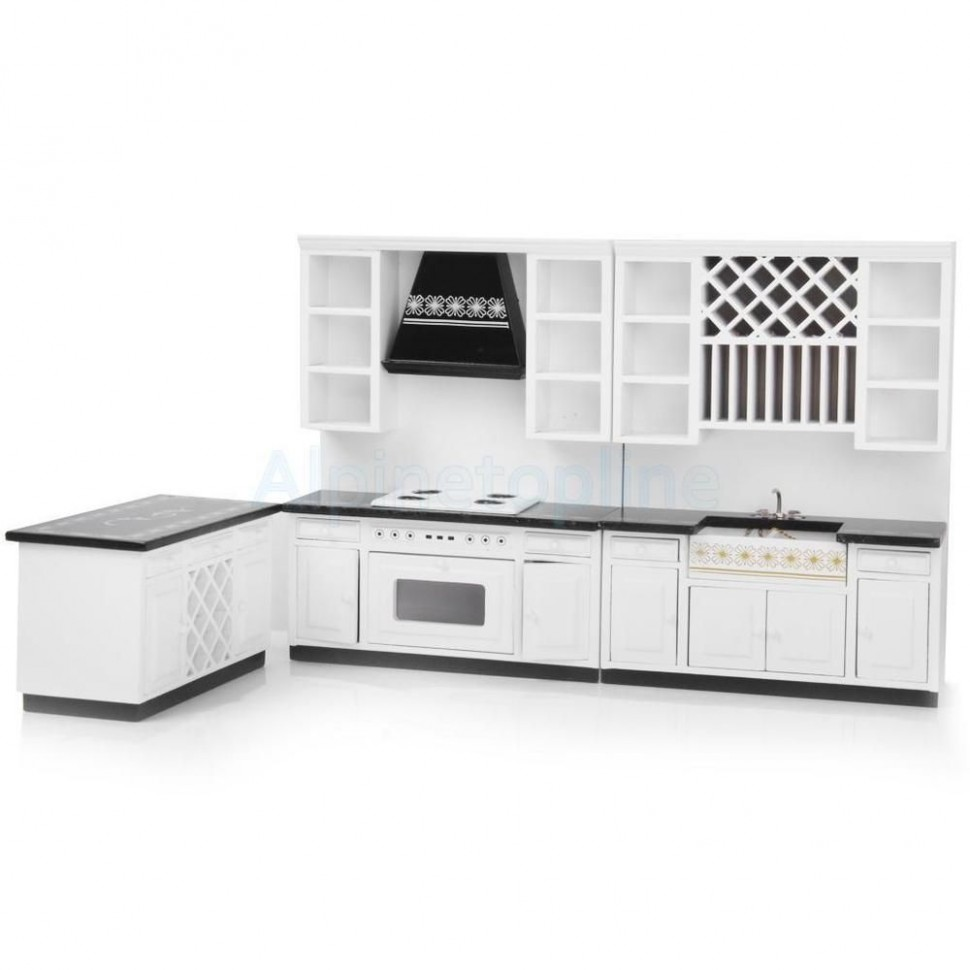 Miniature Kitchen White Wooden Cabinet Set Kit for 9:92 Dollhouse  - Dollhouse Kitchen Cabinet Kit