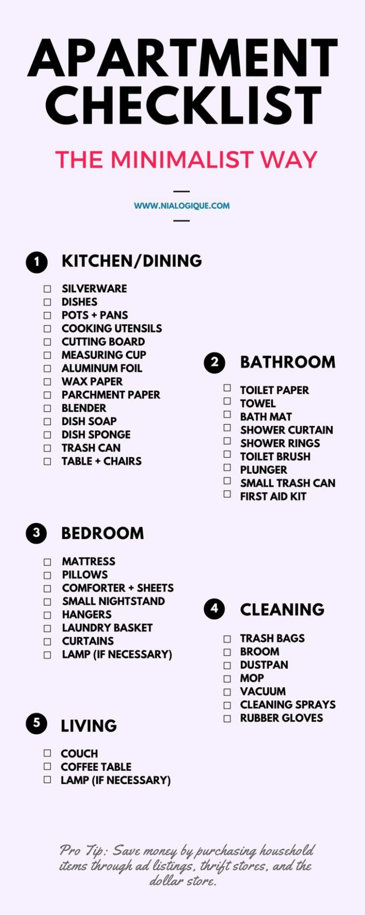 Minimalist Apartment Checklist  Check out this awesome, minimal  - Apartment Design Checklist