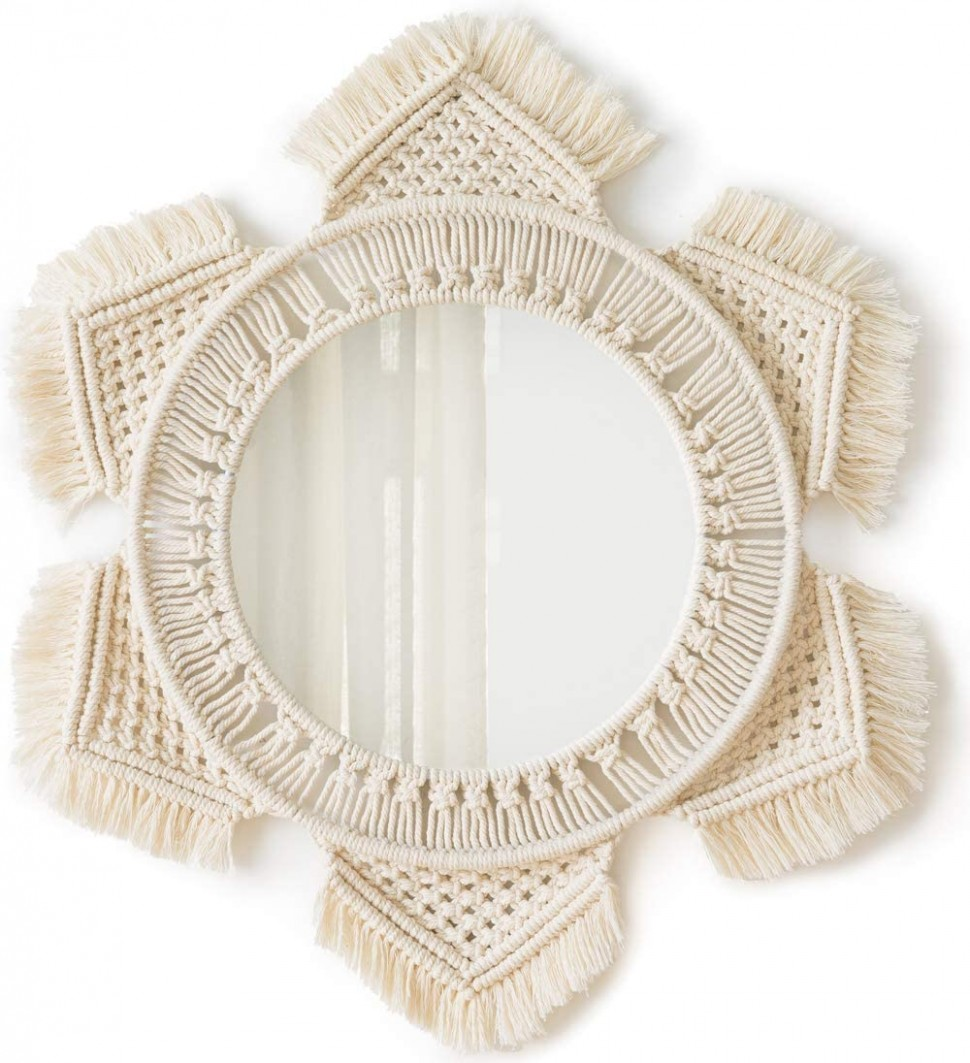Mkono Hanging Wall Mirror with Macrame Fringe Round Mirror Decor  - Baby Room Mirror