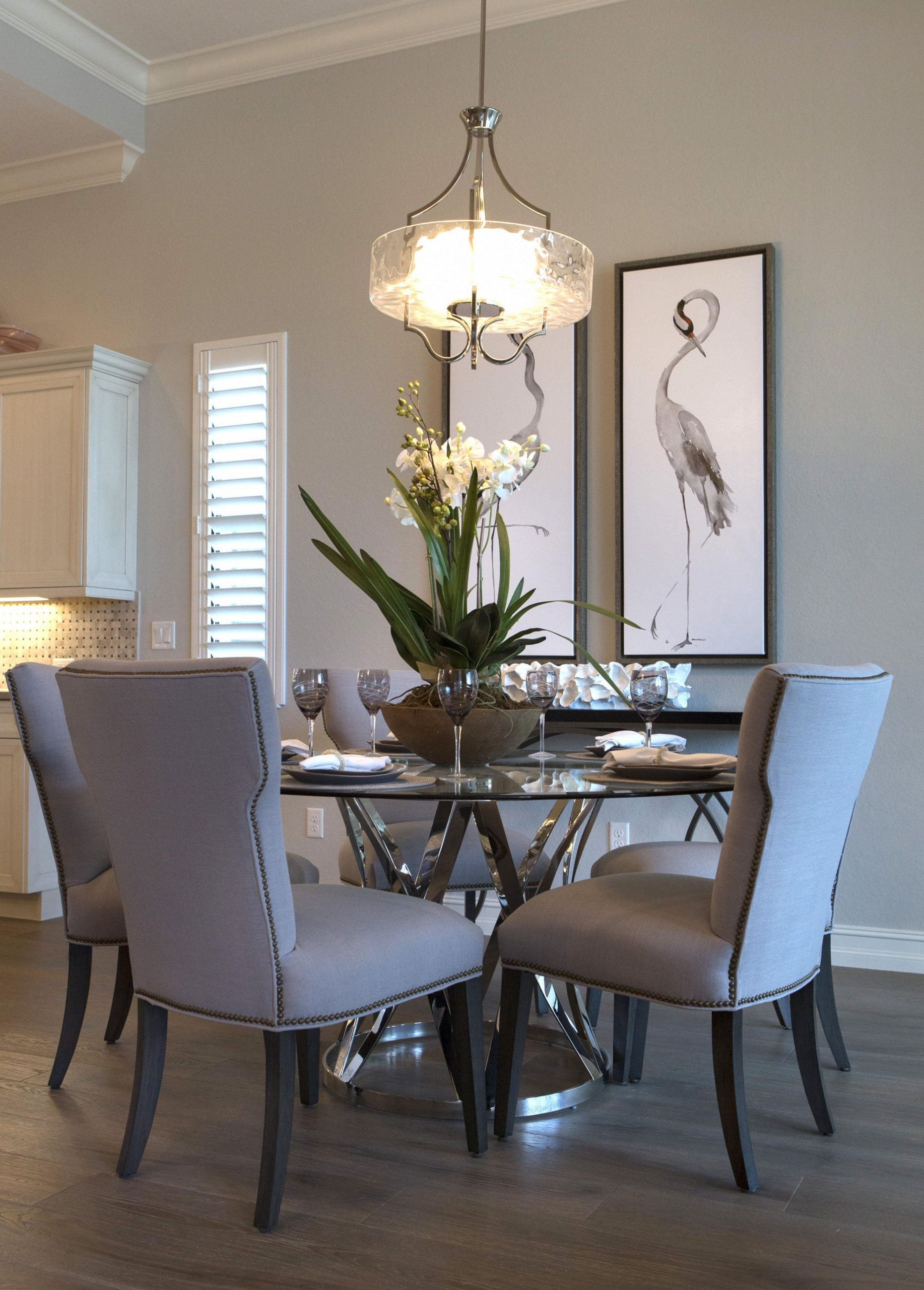 Model Home Interiors  Robb & Stucky  Round dining room, Dining  - Dining Room Ideas Glass Table