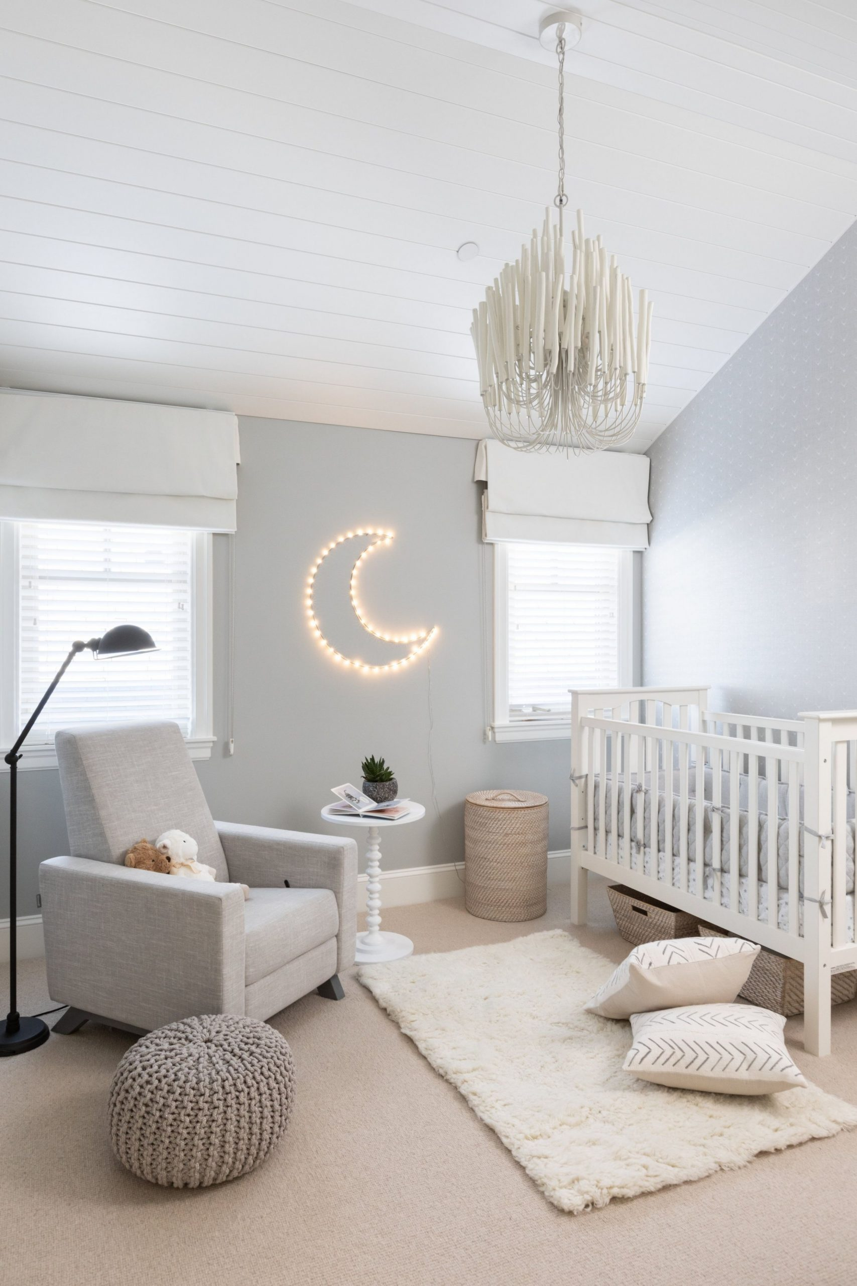 Modern chandelier in nursery with white panel ceiling  Hazel  - Baby Room Chandelier