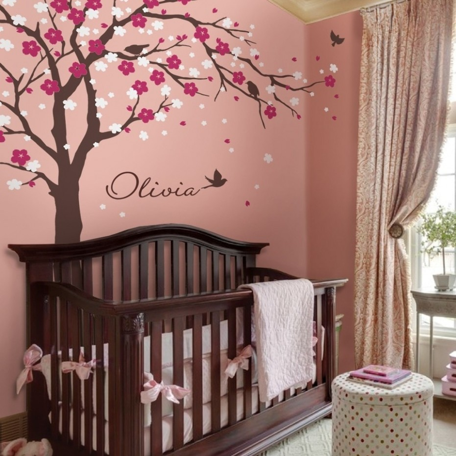 Modern Cherry Blossom Vinyl Wall Stickers Tree With Flowers Wall Art Decals  Kids Baby Room Nursery Design Wallpaper Home Decor - Baby Room Vinyl Wall Art