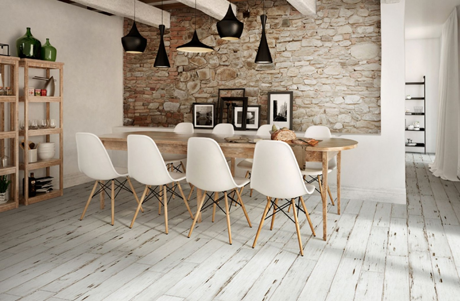 Modern country rustic vibe at dining space with Painted floor  - Dining Room Tile Ideas