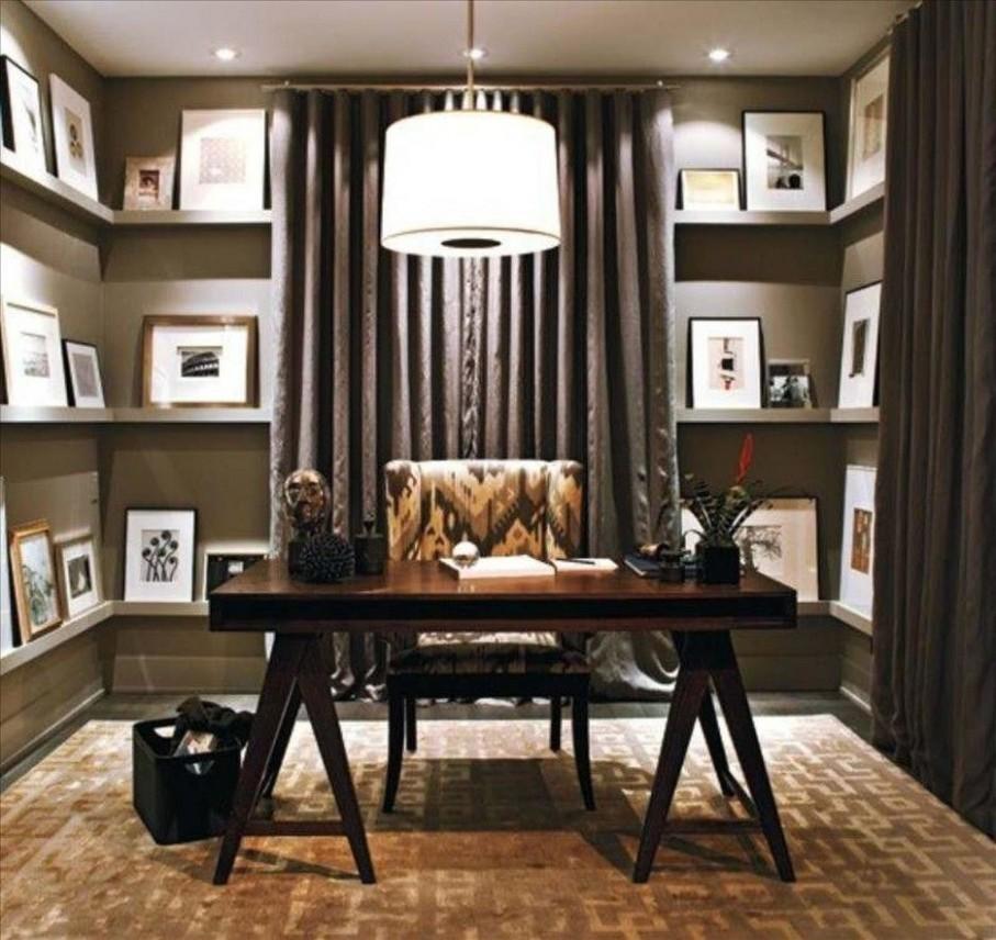 Modern Home Office Design With Dark Brown Wooden Desk Under Round  - Home Office Ideas Lamp
