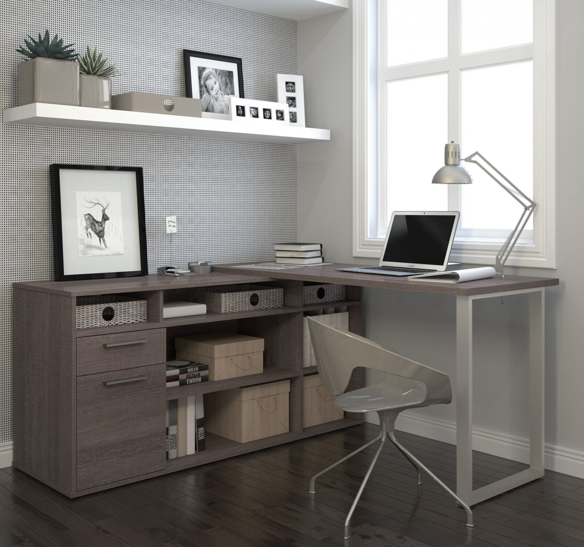 Modern L-shaped Desk with Integrated Storage in Bark Gray  Home  - Home Office Ideas With L Shaped Desk