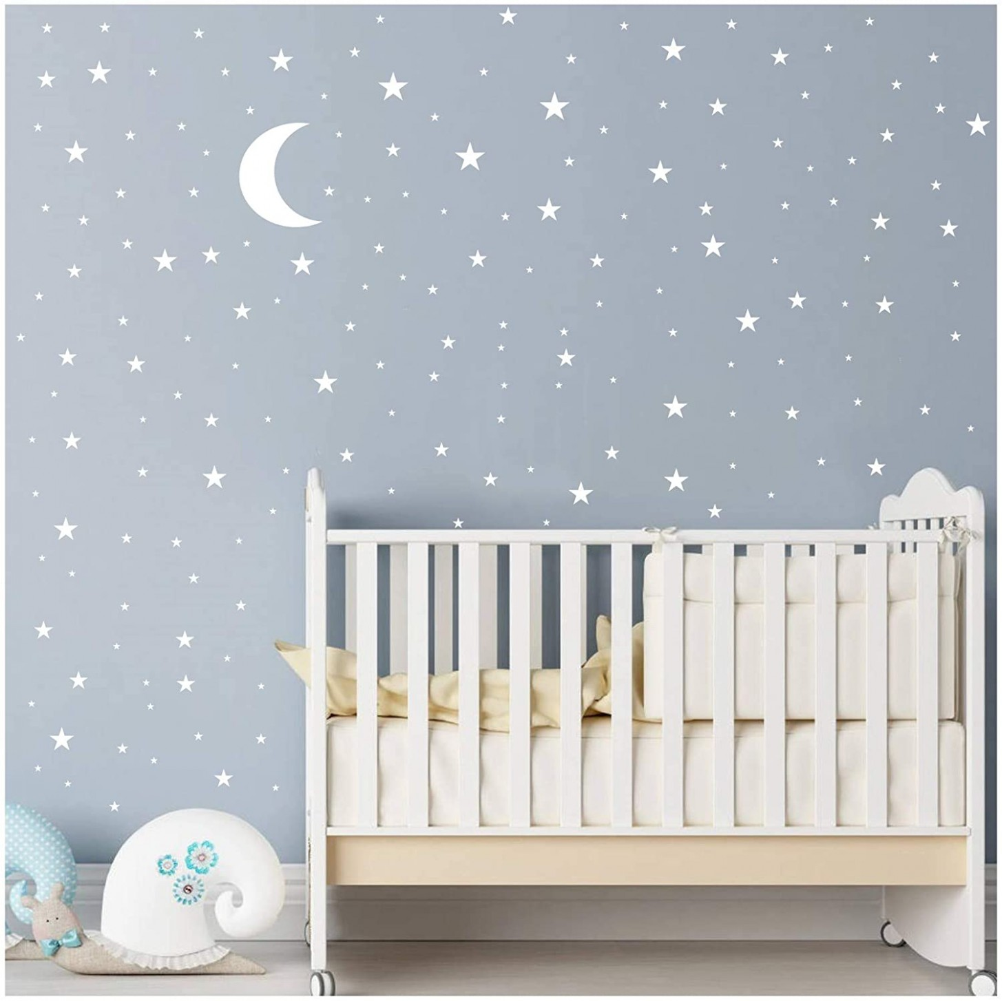 Moon and Stars Wall Decal Vinyl Sticker for Kids Boy Girls Baby Room  Decoration Good Night Nursery Wall Decor Home House Bedroom Design YMX11  (White) - Baby Room Wall Decor