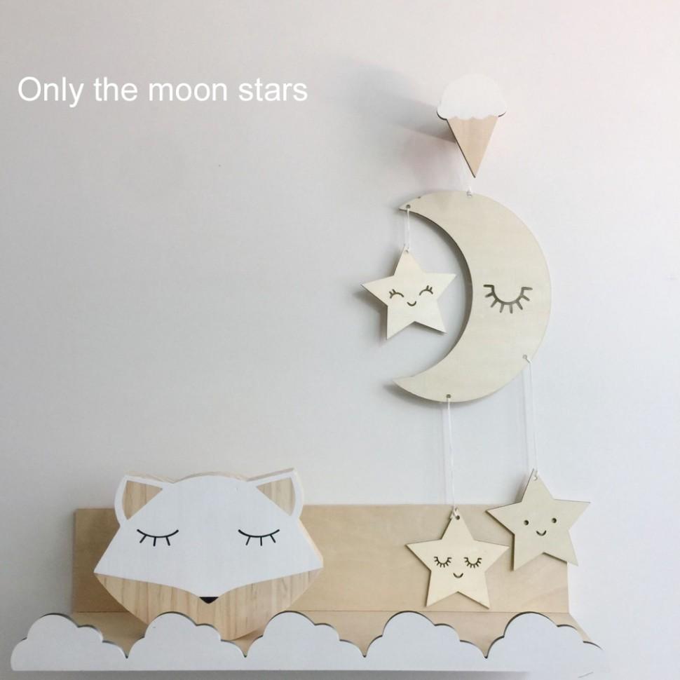 Moon Star Decoration Wooden Ornaments Baby Room Nursery Decor Pendant  Novelty - Baby Room Ornaments