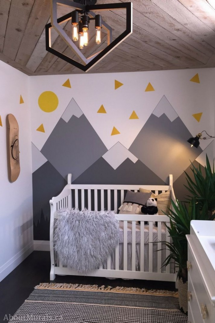 Mountain Mural in a Nursery painted on Holmes Next Generation TV  - Baby Room Near Me