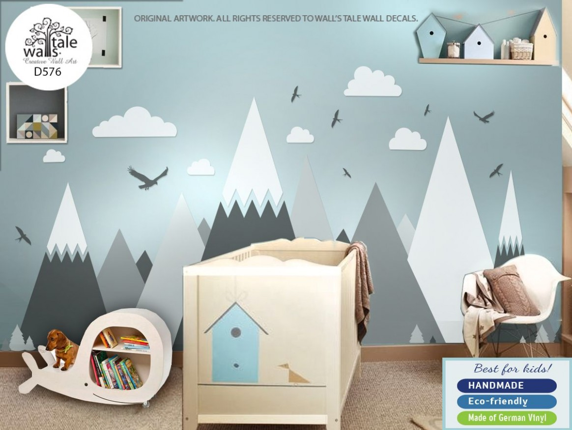 Mountain Wall Decal, nursery mountains