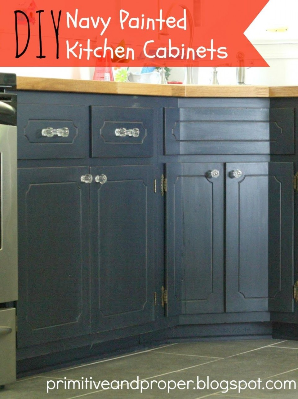 My Coastal Blue Painted Kitchen Cabinets and Ikea Butcher Block  - Distressed Milk Paint Kitchen Cabinets