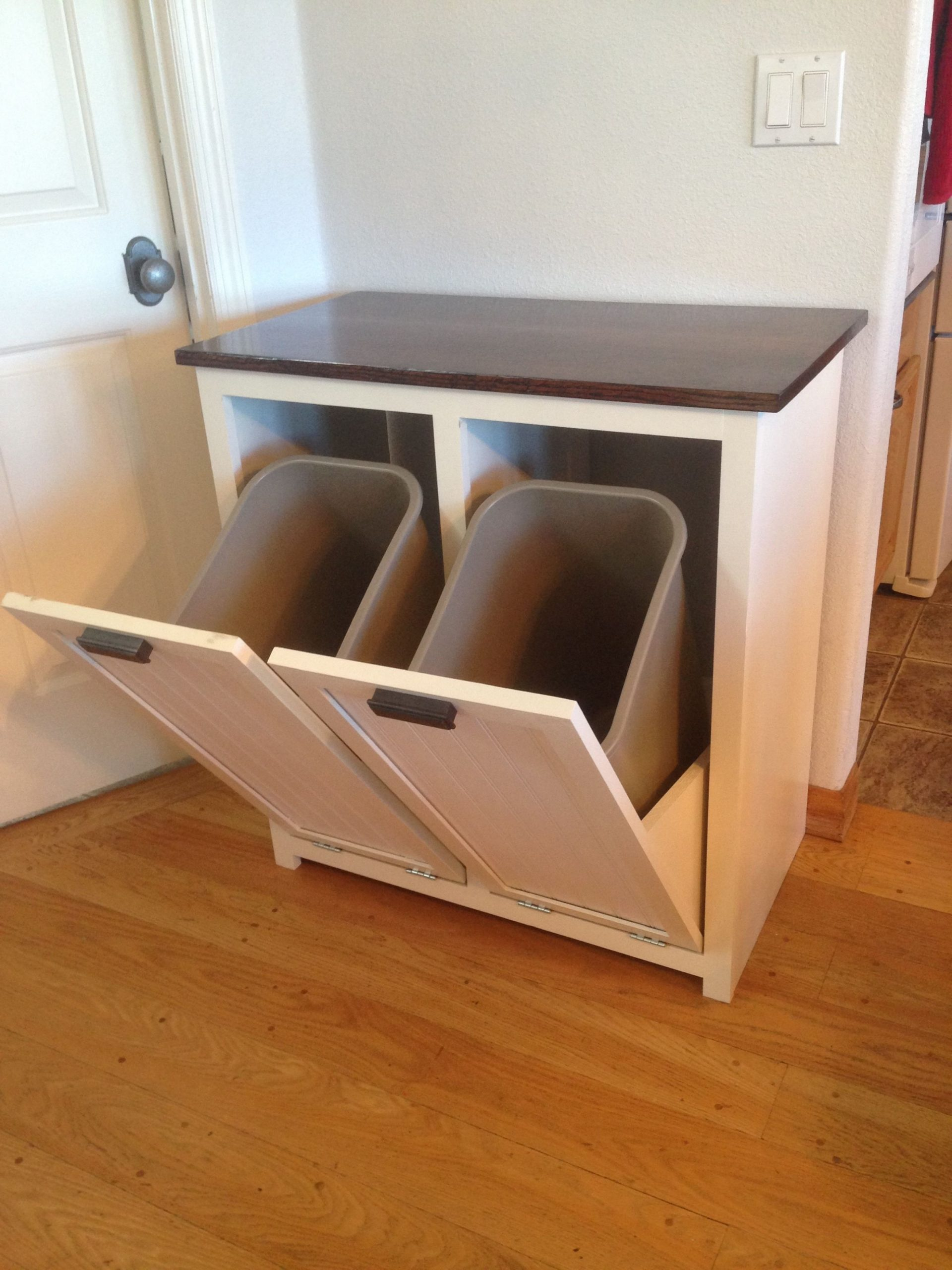 My wife asked me to build something to hide the trash and  - Kitchen Bin Storage Cabinet