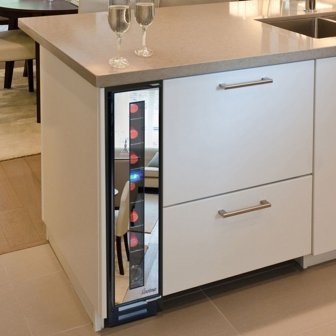 Narrow Wine Cooler by Vinotemp Saves Space and Looks Cool  Small  - Wine Fridge Kitchen Cabinet