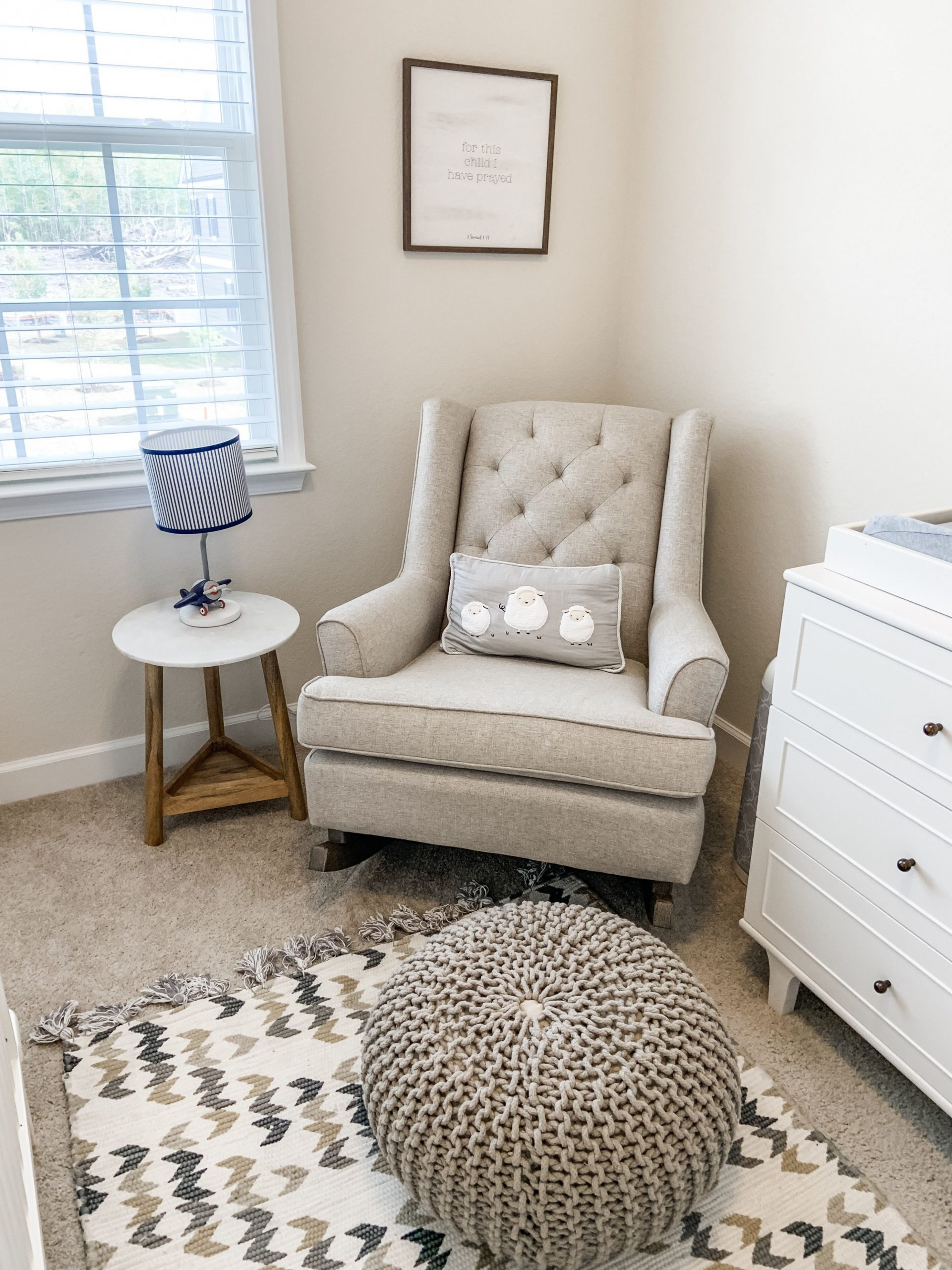 Neutral nursery rocking chair and pouf  Rocking chair nursery  - Baby Room Rocking Chair