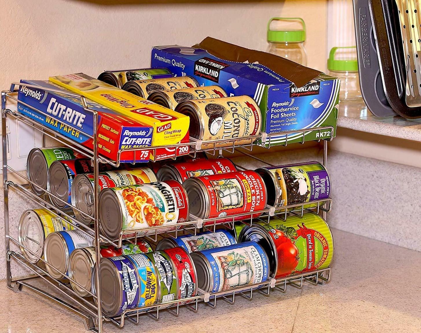NEW 9 Tier Chrome Finish Metal Kitchen Pantry Cabinet Can Goods / Jar  Organizer - Org Metal Mesh Kitchen Cabinet Organizer