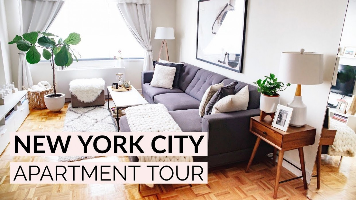 NEW YORK CITY APARTMENT TOUR  Living Room & Kitchen - New York Apartment Decor Ideas
