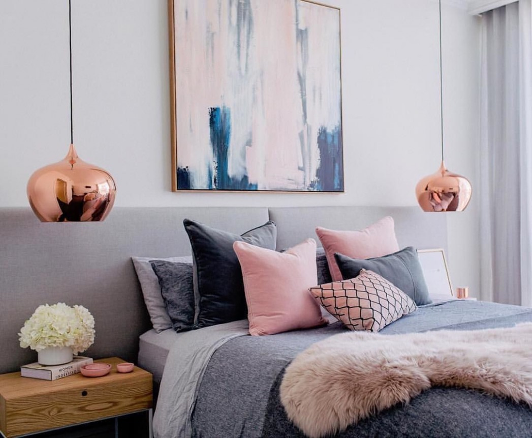 """norsu interiors on Instagram: """"This bedroom by Nicole from  - Bedroom Ideas Rose Gold And Grey"""