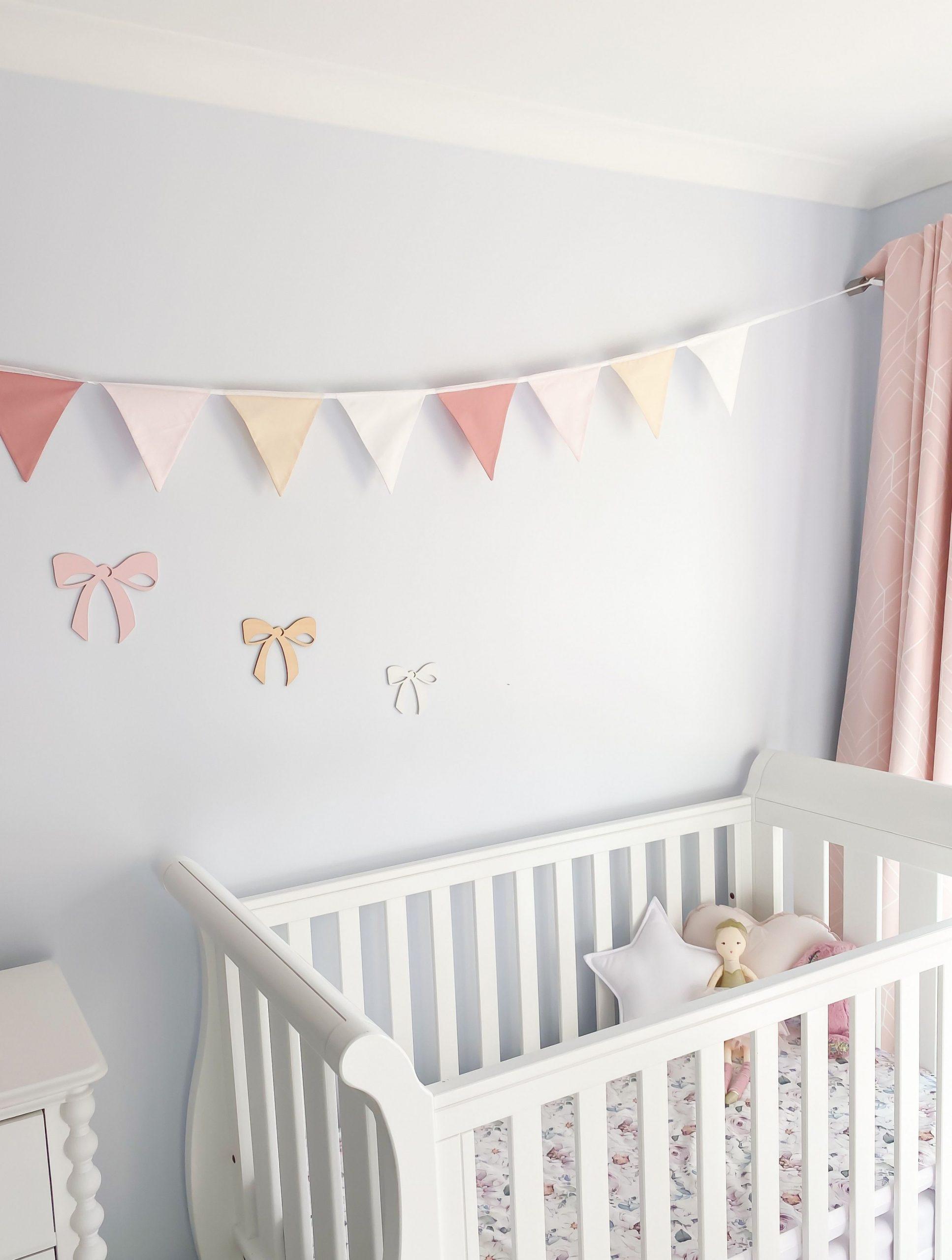 Nursery Bunting - Dusty Pink 9 flag  Baby room wall decor  - Baby Room Bunting