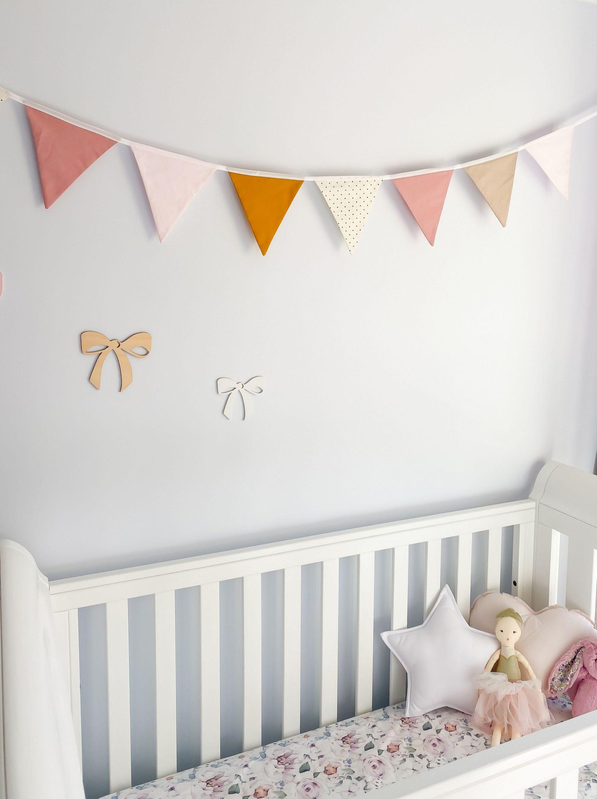 Nursery Bunting - Mustard Pink 9 flag  Nursery bunting, Baby girl  - Baby Room Bunting