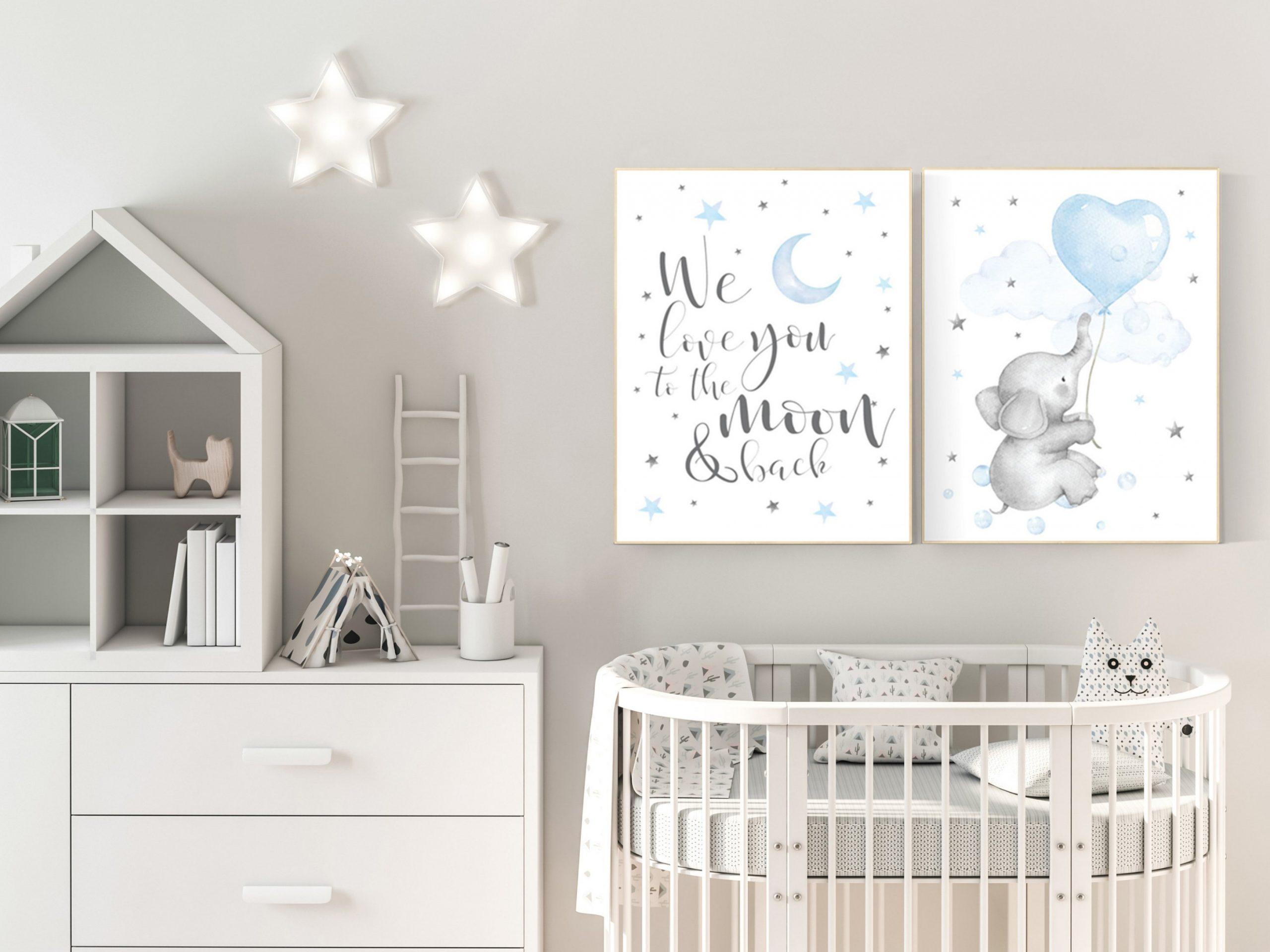Nursery decor boy elephant, nursery wall art elephant, baby room  - Baby Room Elephant