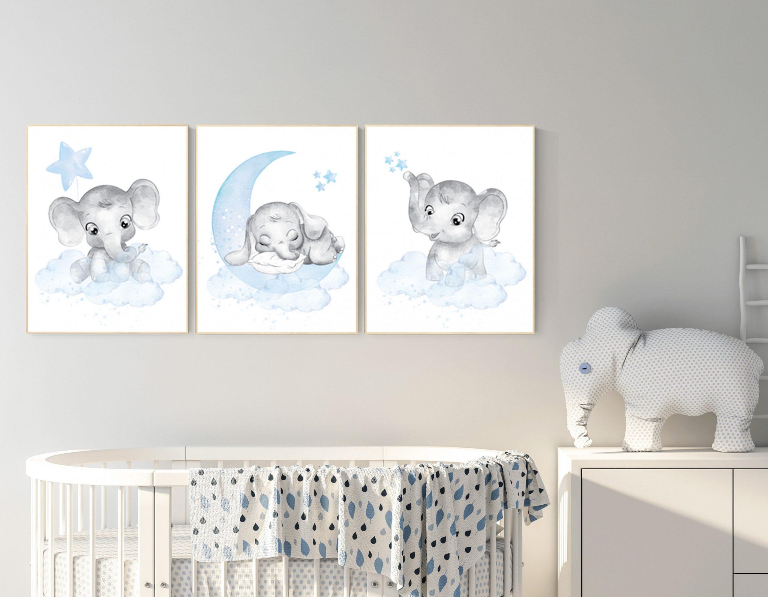 Nursery decor elephant, Nursery decor boy, nursery wall art  - Baby Room Elephant