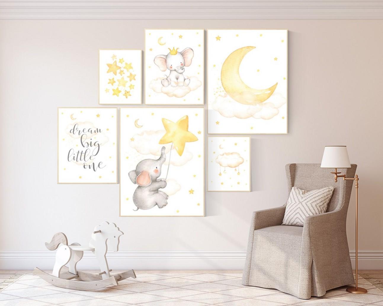 Nursery decor elephant nursery wall art neutral twinkle  Etsy in  - Baby Room Wall