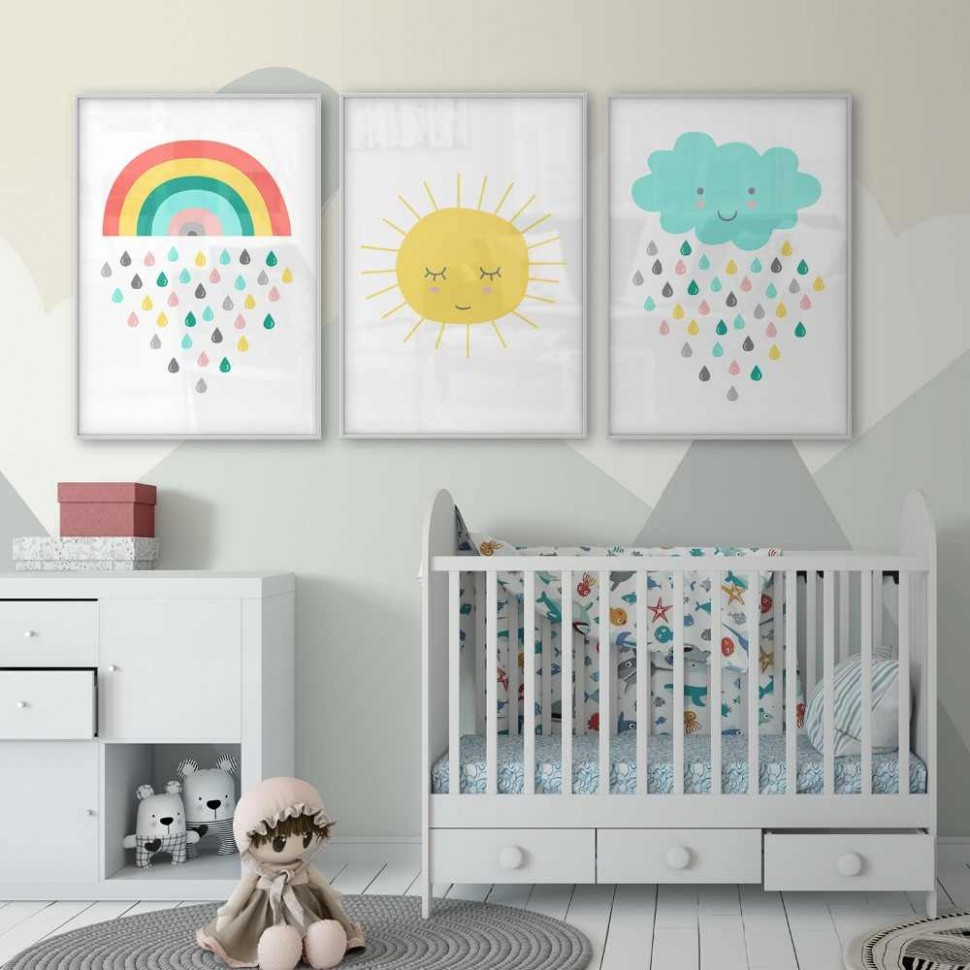 Nursery Decor Gender Neutral Wall Art Sunshine Poster Nursery Art  - Baby Room Rainbow