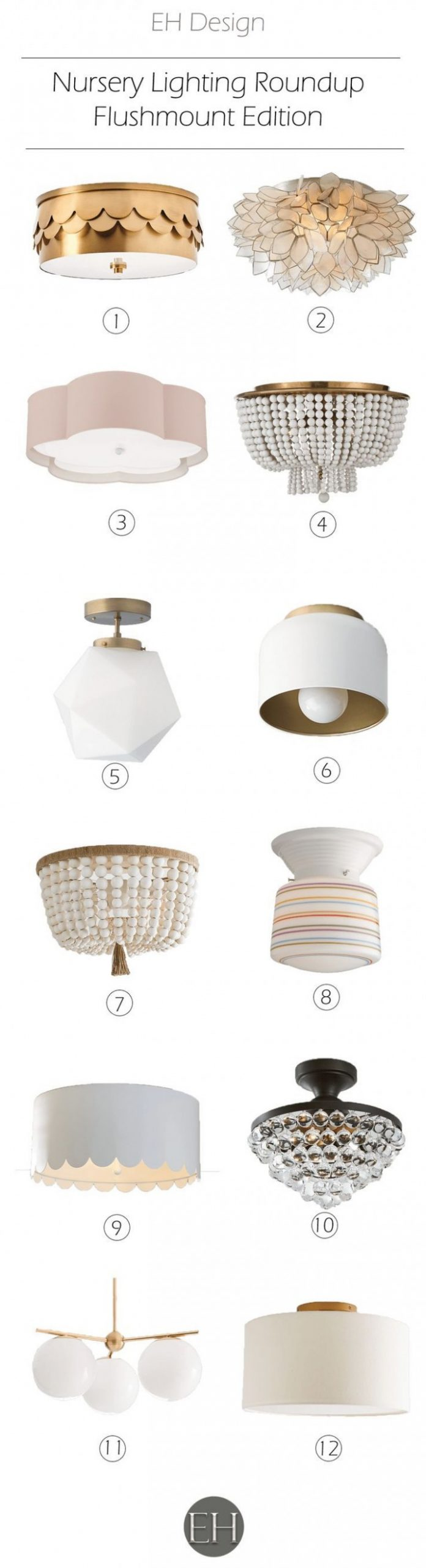 Nursery Lighting Roundup - Flushmount Edition  EH Design - EH  - Baby Room Light Fixtures