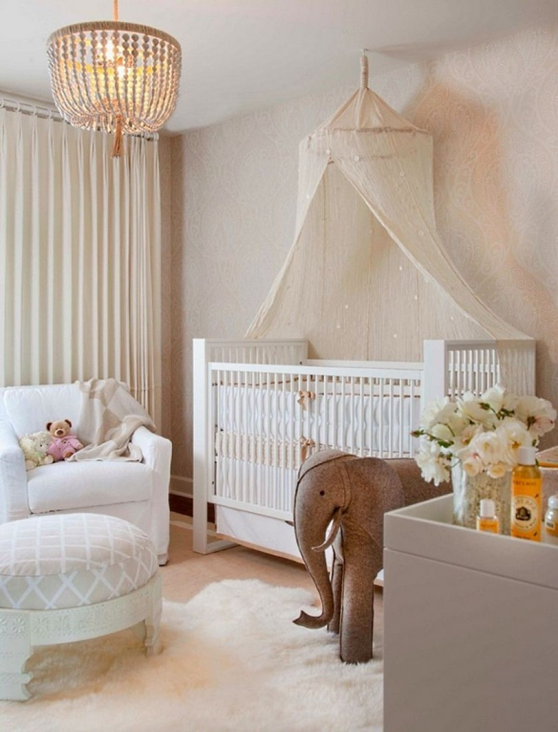 Nursery room with beaded chandelier  Baby girl nursery room  - Baby Room Chandelier