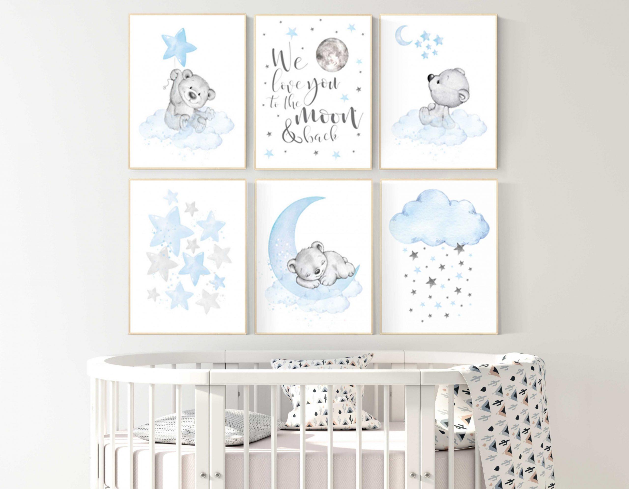 Nursery wall art bear boys nursery prints