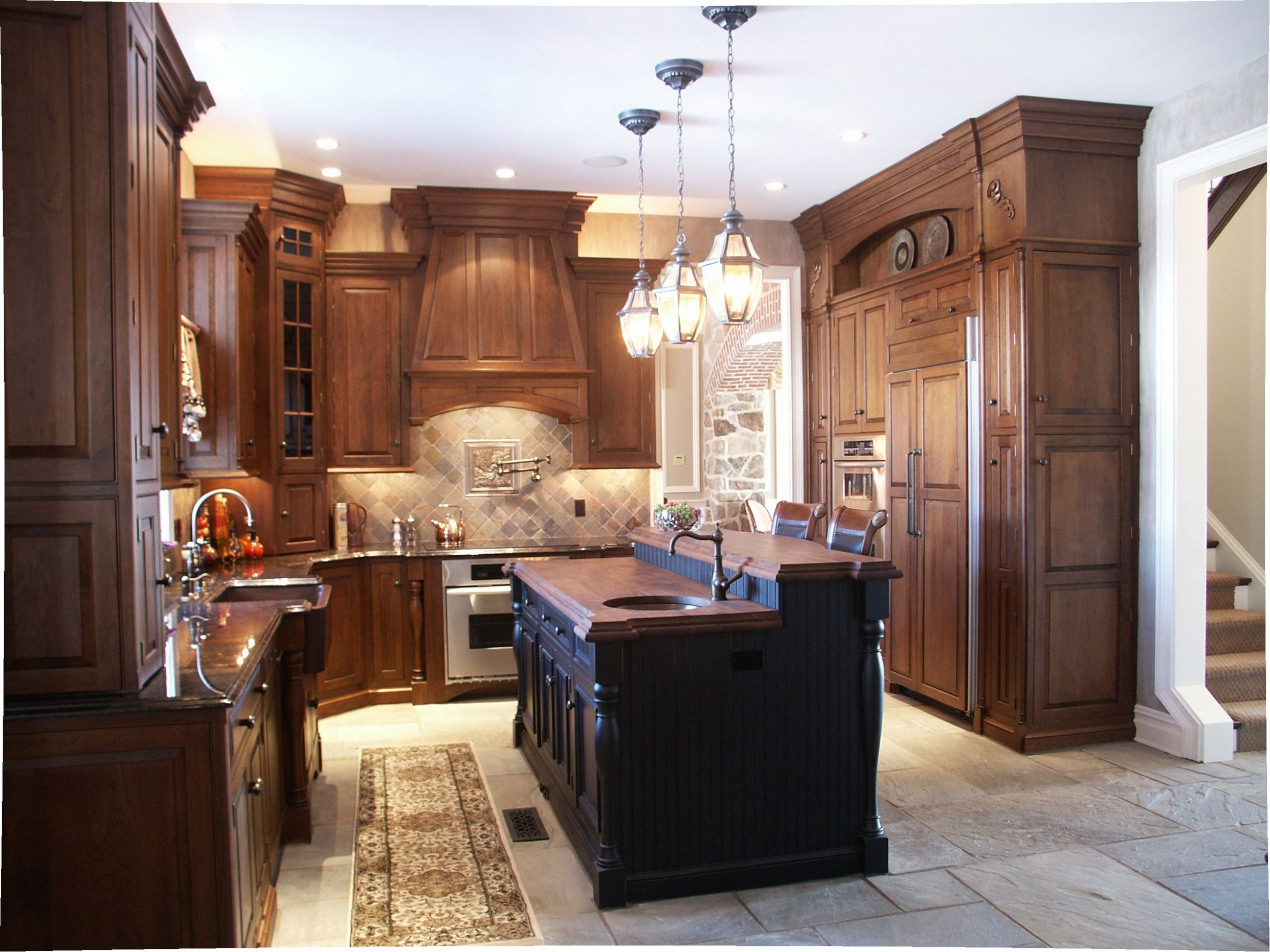Old World Kitchen includes wall cabinets to the ceiling, custom  - World Kitchen Cabinets