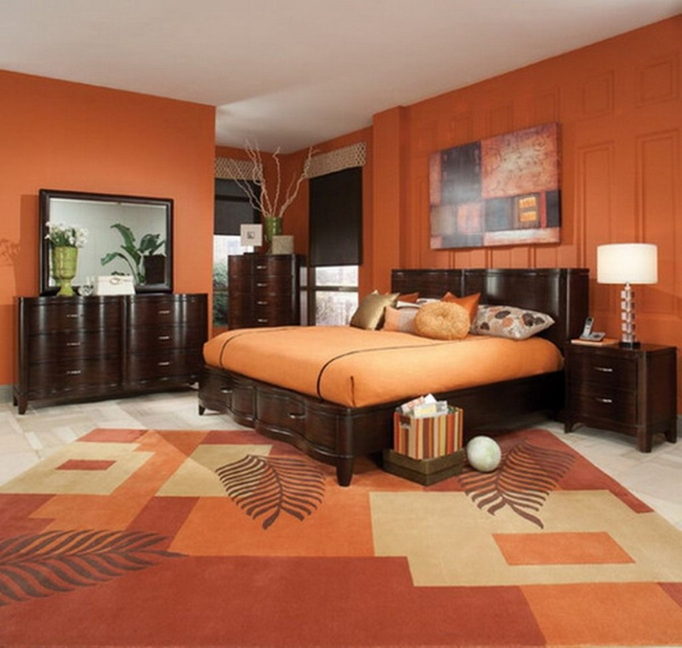 Orange Bedroom Ideas With Dark Brown Furniture Design Using Nice  - Bedroom Ideas Orange