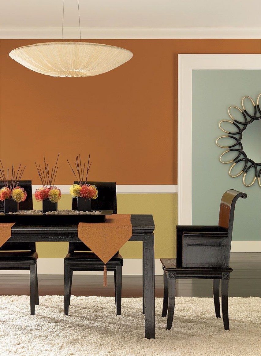 Orange color and lighting  Dining room colors, Dining room wall  - Dining Room Ideas Colours
